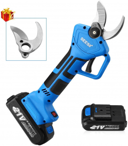 ) Seesii Professional 21V Cordless Electric Pruning Shears,2PCS Backup Rechargeable 2Ah Battery Powered Tree Branch Pruner