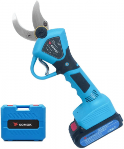 KOMOK Professional Cordless Electric Pruning Shears,2PCS Backup Rechargeable 2Ah Lithium Battery Powered Tree Branch Pruner