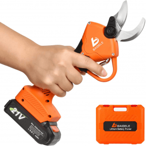BAIDELE Professional 21V Cordless Electric Pruning Shears,1.2 Inch Cutting Diameter with 2PCS Backup 2Ah Lithium Battery,6-8 Working Hours, Waterproof(BDL-J03)