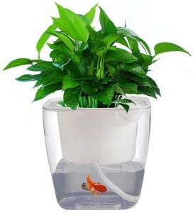 Self Watering Planter Garden, Hydroponics Growing System Flower Pot, Gardening Starter Kit Small Fish Tank