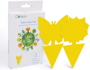 Garsum Sticky Trap, Fruit Fly and Gnat Trap Yellow Sticky Bug Traps for Indoor/Outdoor Use