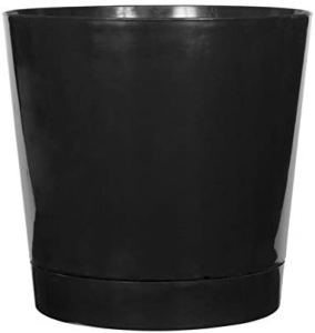 Full Depth Round Cylinder Pot, Black, 14-Inch