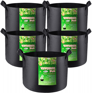 VIVOSUN 5-Pack 10 Gallon Plant Grow Bags, Heavy Duty Thickened Nonwoven Fabric Pots with Handles