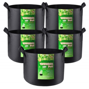 VIVOSUN 5-Pack 1 Gallon Grow Bags Heavy Duty Thickened Nonwoven Fabric pots with Handles: