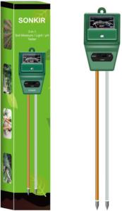 Sonkir Soil pH Meter, MS02 3-in-1 Soil Moisture/ Light/ pH Tester Gardening Tool Kits for plant care